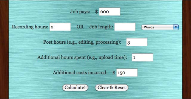 VO M.O. Voice Over Pricing Hourly Rate Calculator
