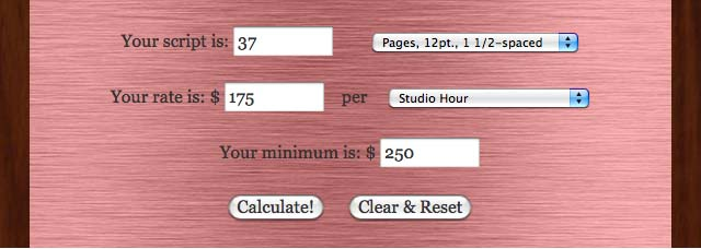 VO M.O. Voice Over Pricing Narration Quote Calculator